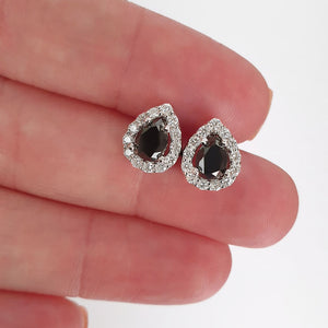 Pear Cut Black Diamond Earrings with White Diamond Halo