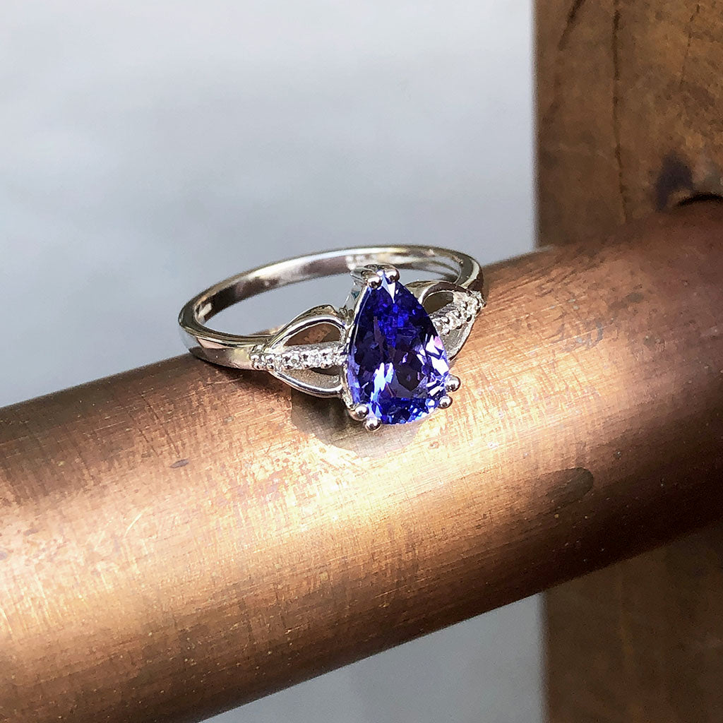 Pear Cut Tanzanite and Diamond Open Shoulder Ring