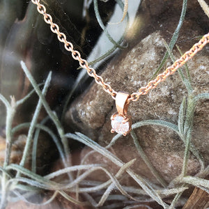 Petit Rose Gold 4 Claw Diamond Pendant