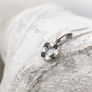 Petite Black and White Diamond Halo Pendant