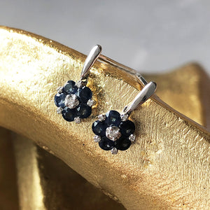 Petite Flower Sapphire with Diamond Drop Earrings