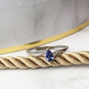 Petite Pear Cut Tanzanite White Gold ring