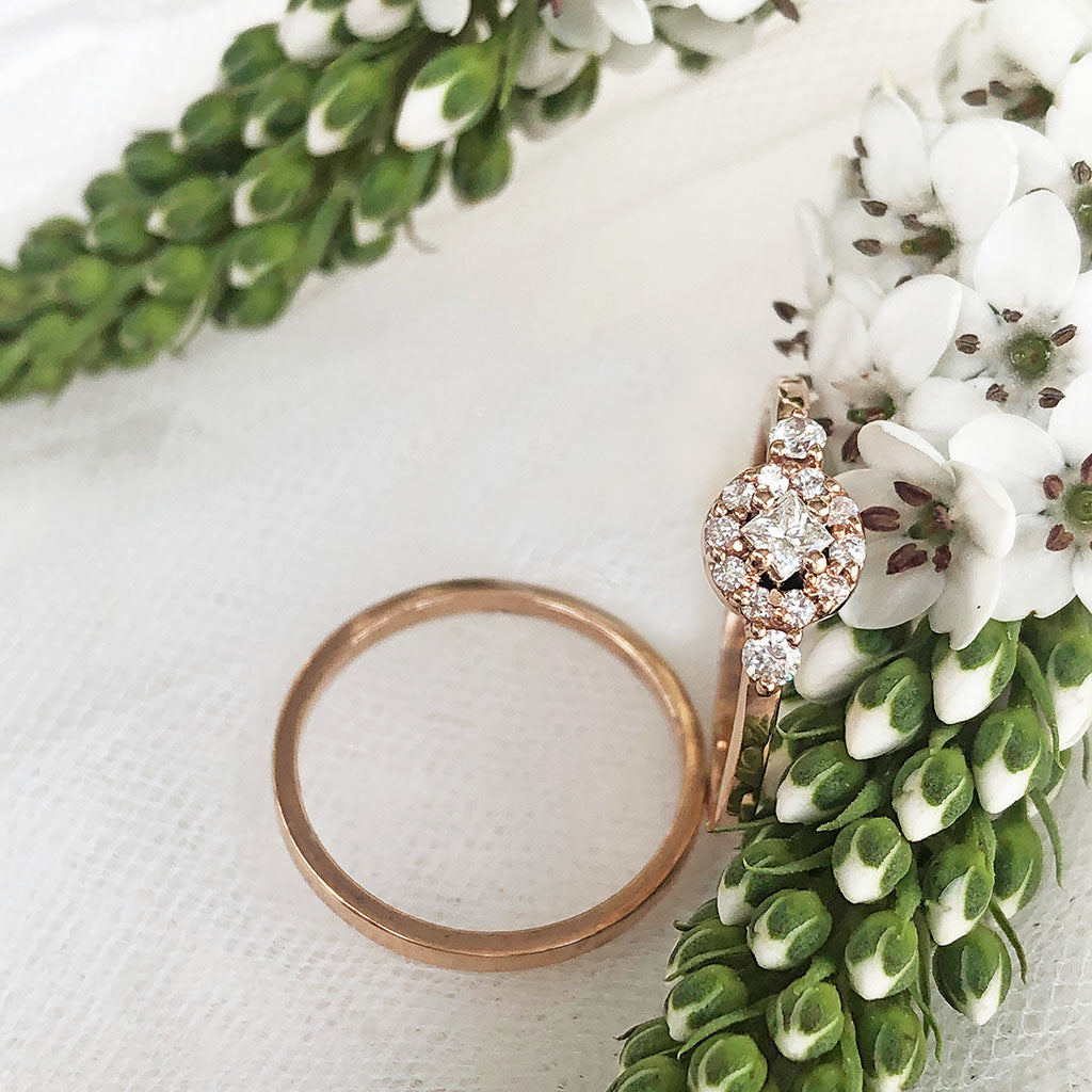 Petite Rose Gold Floral Square Diamond Cluster Engagement Ring Wedding Set