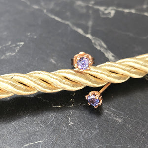 Petite Six Claw Rose Gold Tanzanite Studs