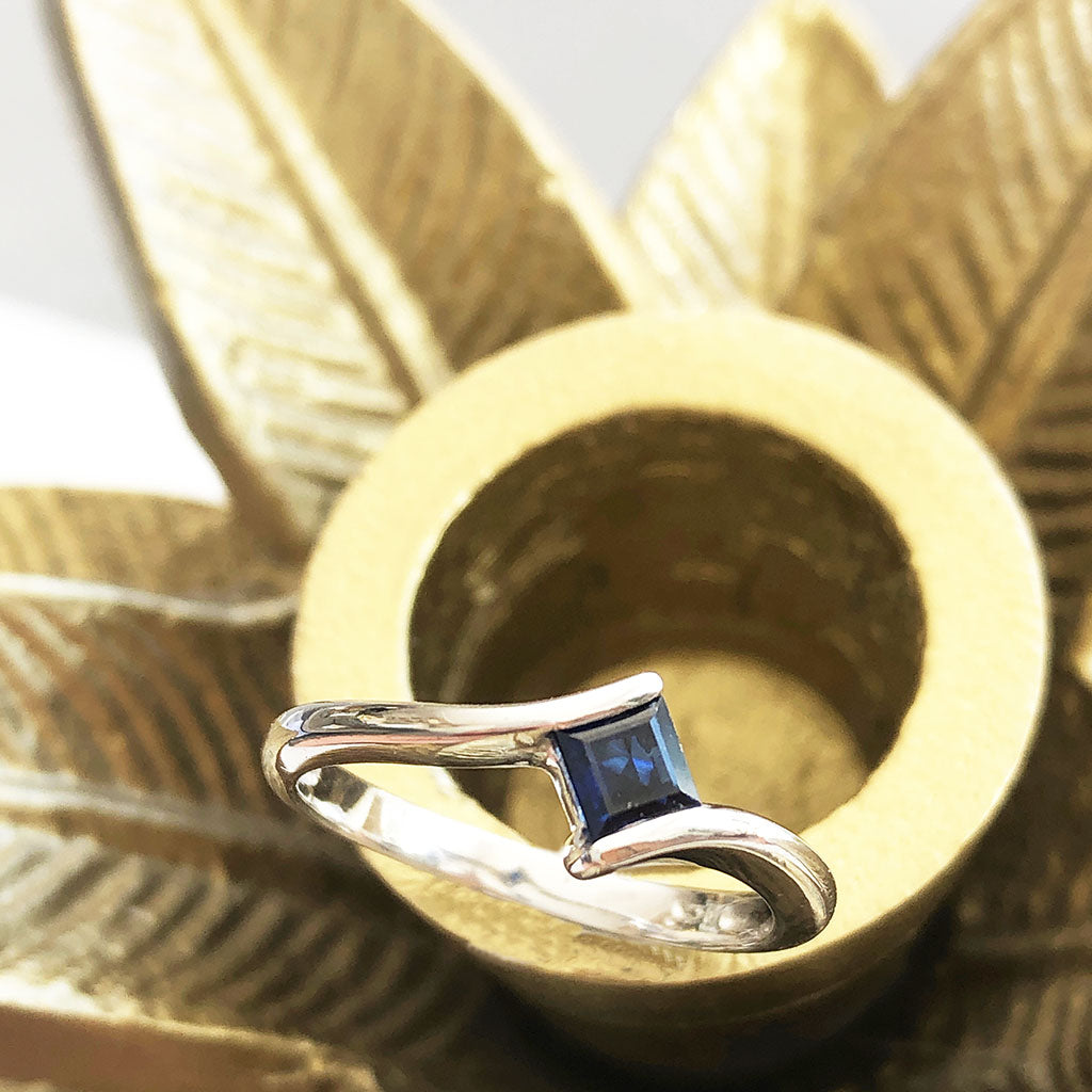 Petite Square Cut Blue Sapphire White Gold Ring