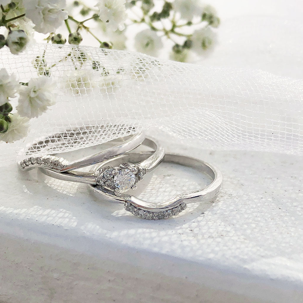 Petite Trilogy Diamond Engagement ring With Dual Diamond Accented Wedding Bands