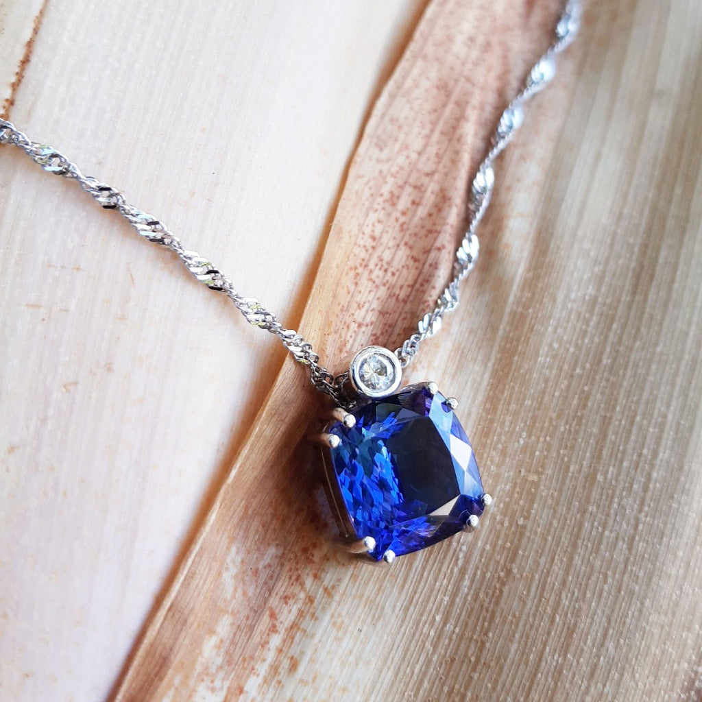 Handcrafted Cushion Cut Tanzanite Pendant with Tube Set Diamond Accent