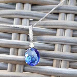 Handcrafted Oval Cut Tanzanite and Diamond Pendant