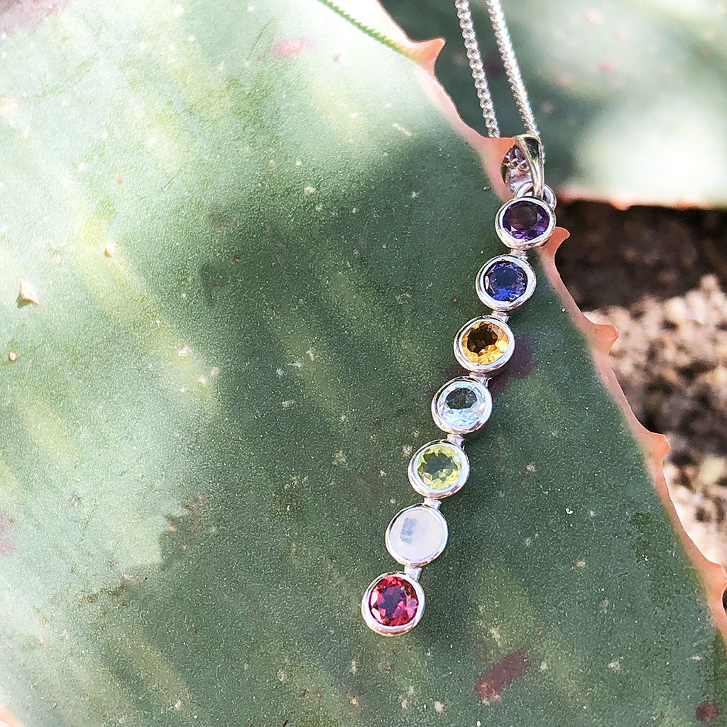 Rainbow Multi-Gemstone, Round Cut, Bezel Set, Gemstone Pendant