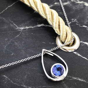 Raindrop Tanzanite and White Gold Pendant