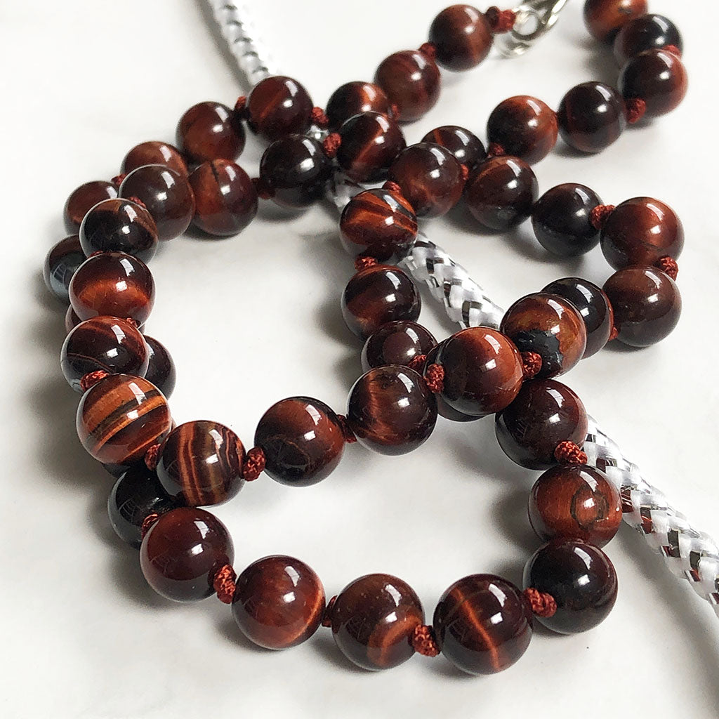 Red Tigers Eye Bead Necklace