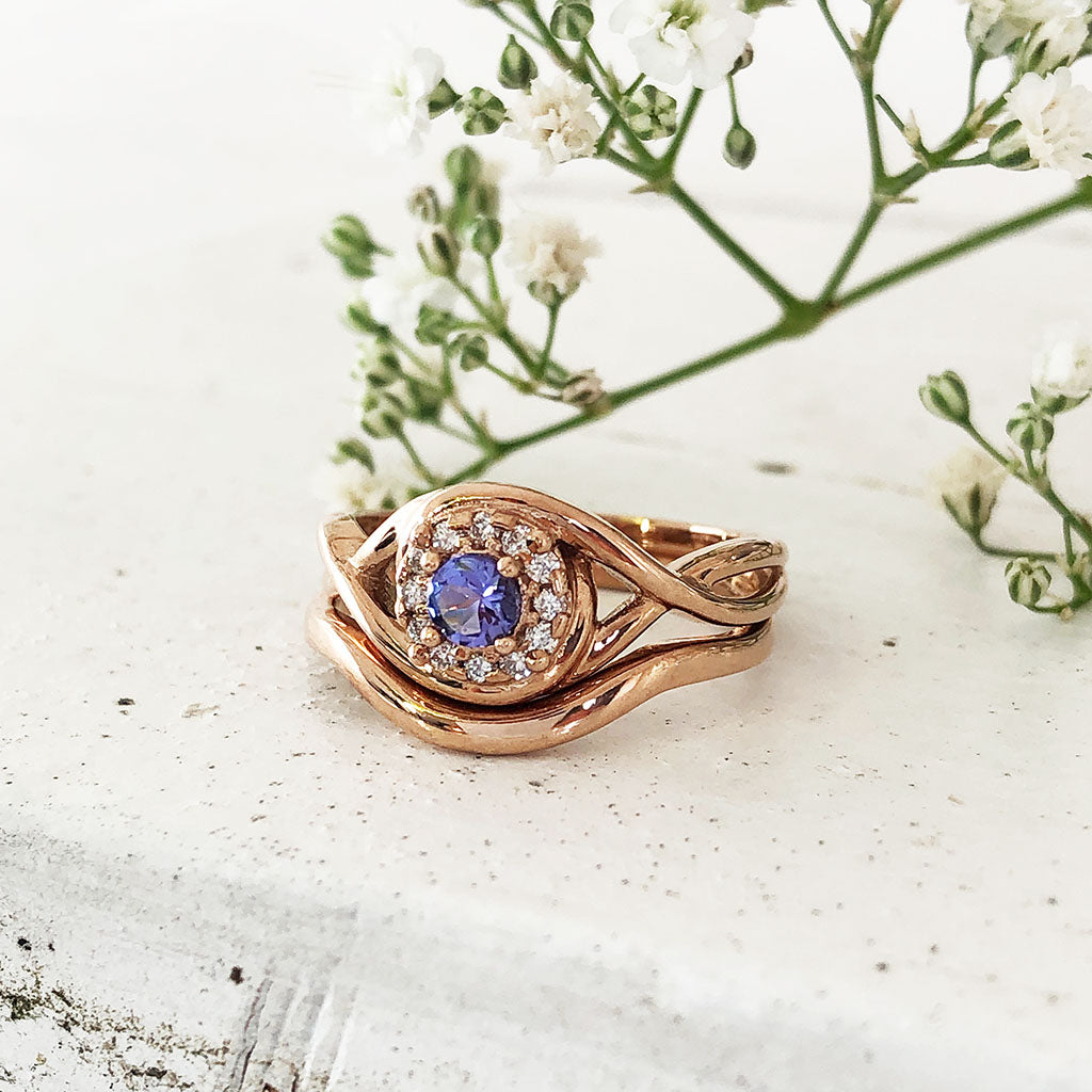 Rose Gold Tanzanite and Diamond Infinity Twist Wedding Set