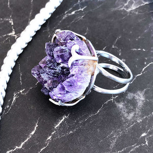 Rough Amethyst Geode Silver Ring