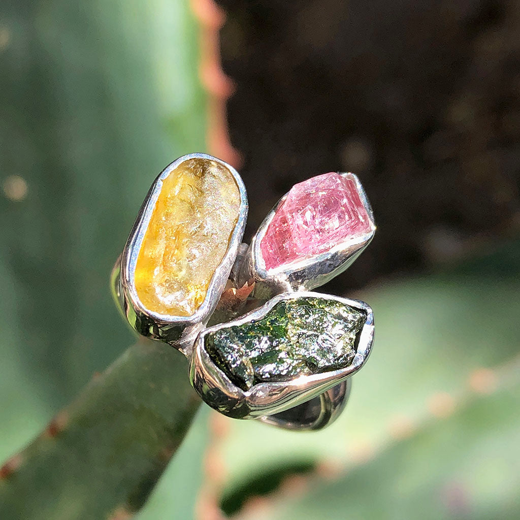 Rough Tourmaline and Lemon Quartz Adjustable Silver Ring