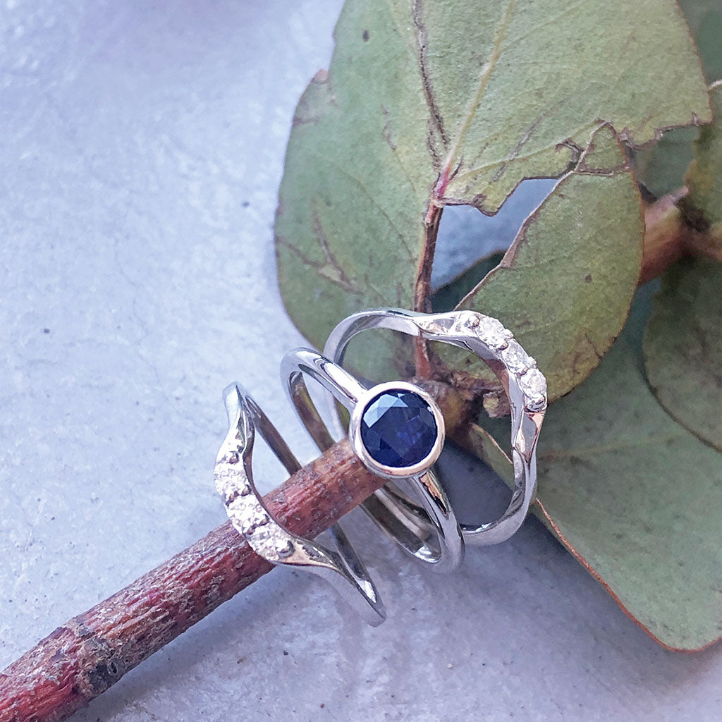 Round Bezel Set Blue Sapphire with 2 x Diamond Accent Wedding Set