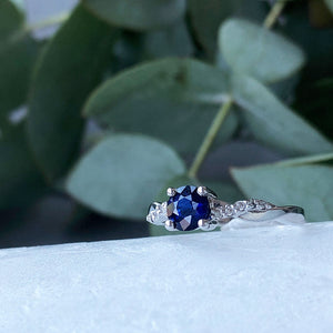 Round Blue Sapphire and Diamond Braided Shoulder Wedding Set