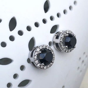 Round Cut Black Diamond Studs with White Diamond Halo