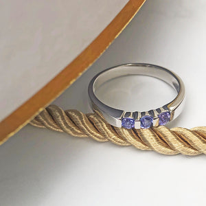 Round Cut Tanzanite Channel Set White Gold Ring