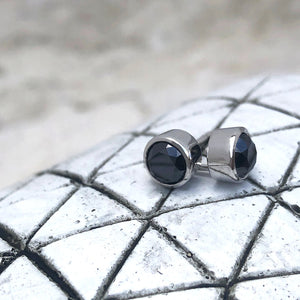 Round Tube Set Black Diamond Earrings