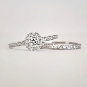 Round White Diamond Cluster and Diamond Band Engagement Ring and Diamond Band Wedding Set