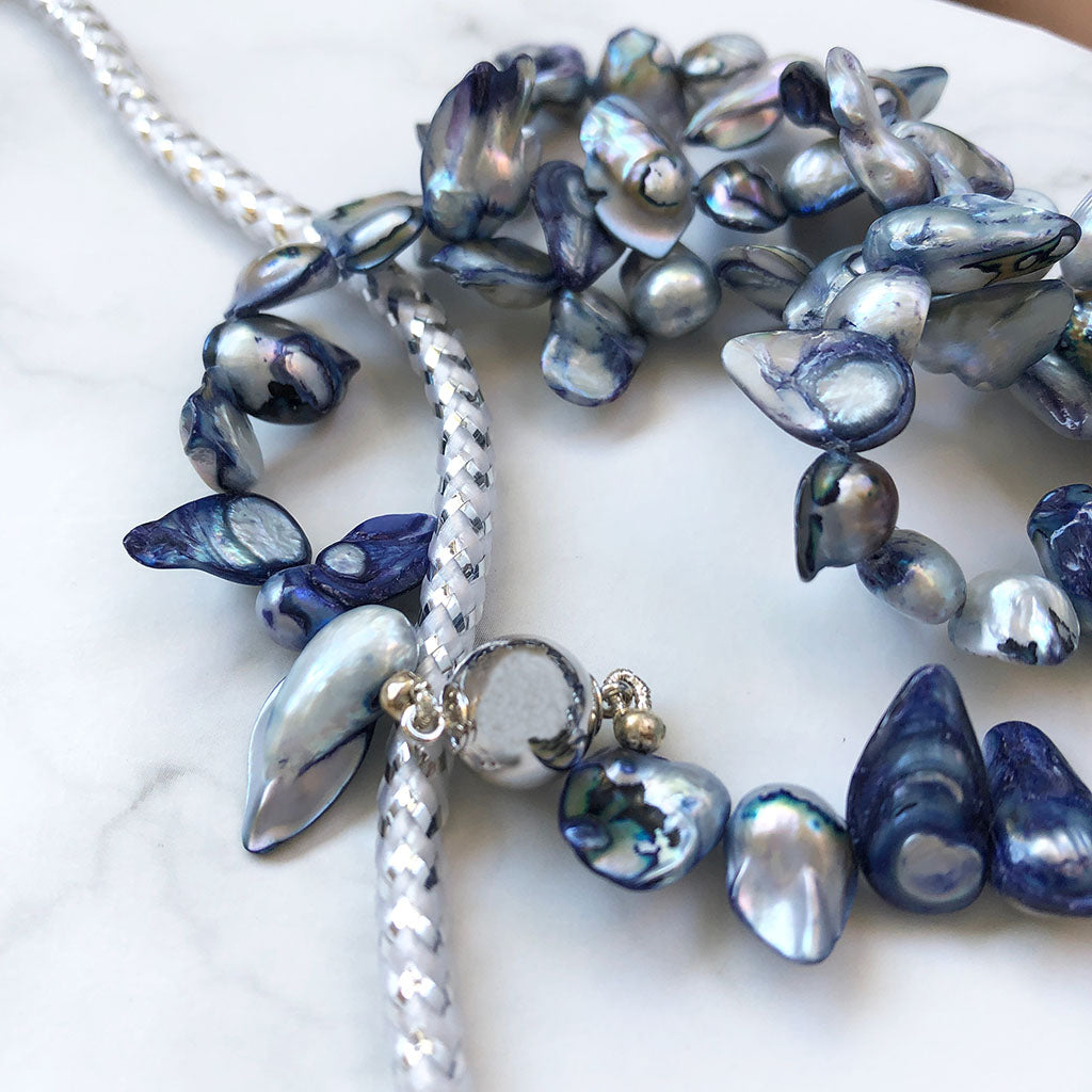 Royal Blue Blister Pearl Necklace