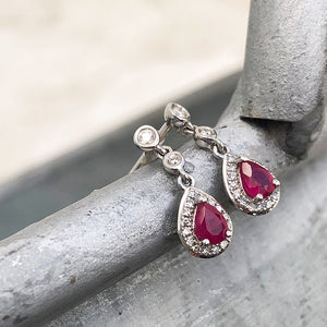 Ruby and Diamond Halo Droplet earrings