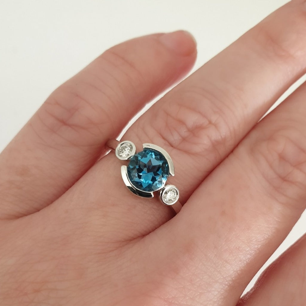 Split Bezel Set London Blue Topaz with Full Bezel Set Diamond accents