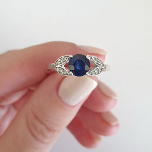 Sapphire with Open Diamond Leaf Shoulder Ring