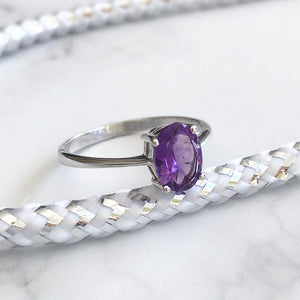 Silver Oval Cut Solitaire Amethyst Ring