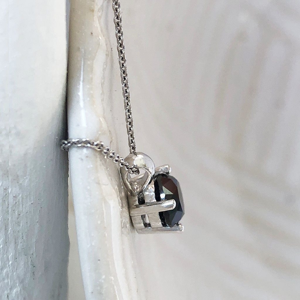 Four Claw Solitaire Black Diamond and White Gold Pendant