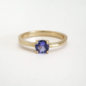 Solitaire Four Claw Round Cut Tanzanite Yellow Gold band Ring