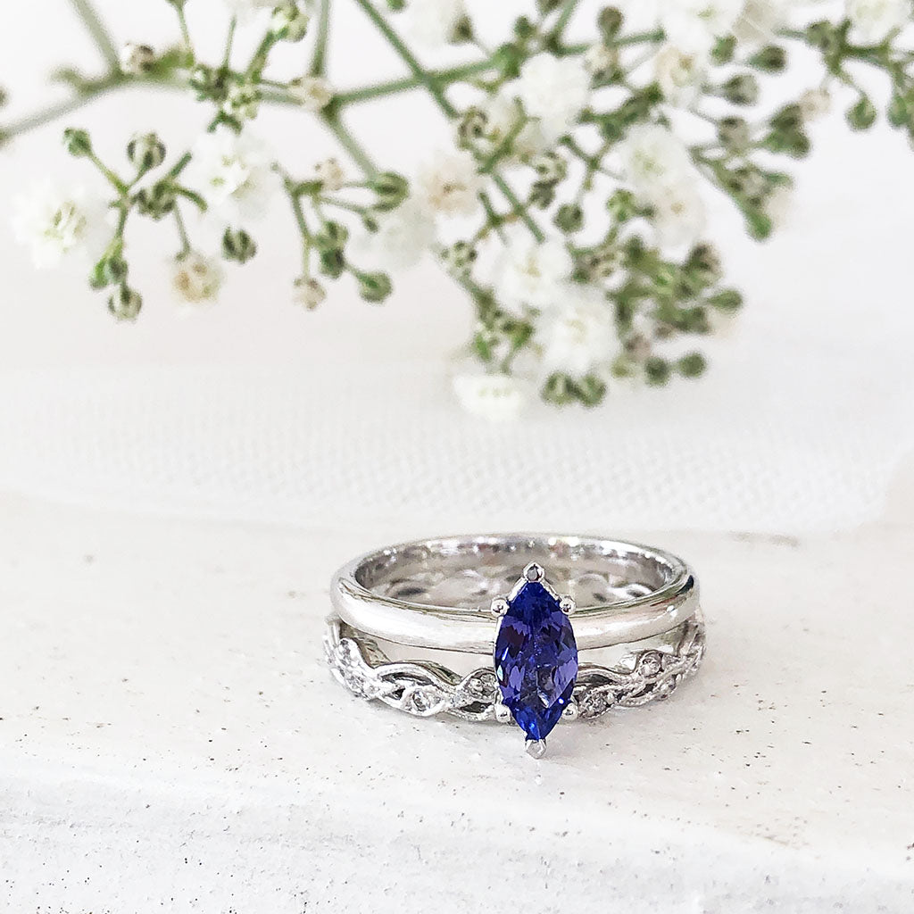 Solitaire Marquise Tanzanite Engagement ring with Diamond and Filigree Wedding band