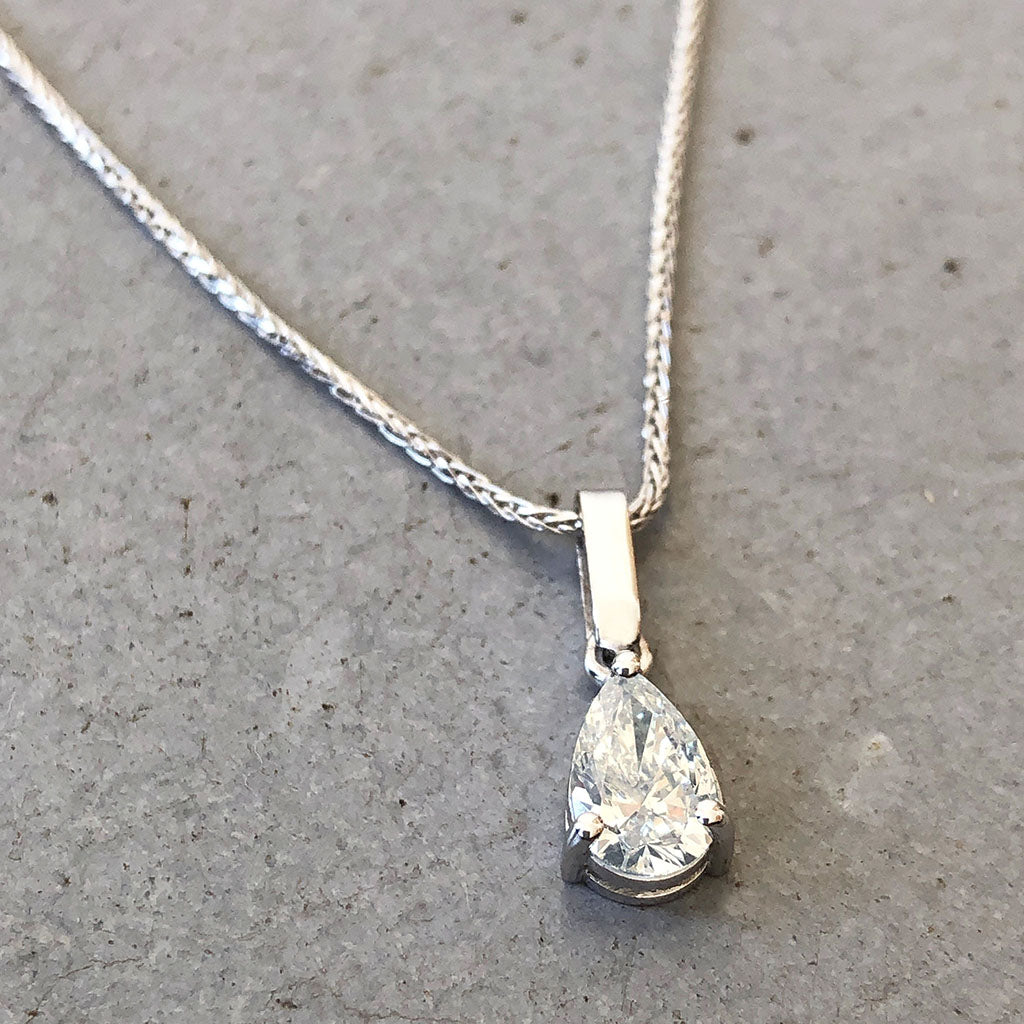 Handcrafted Solitaire Pear Cut Diamond Pendant