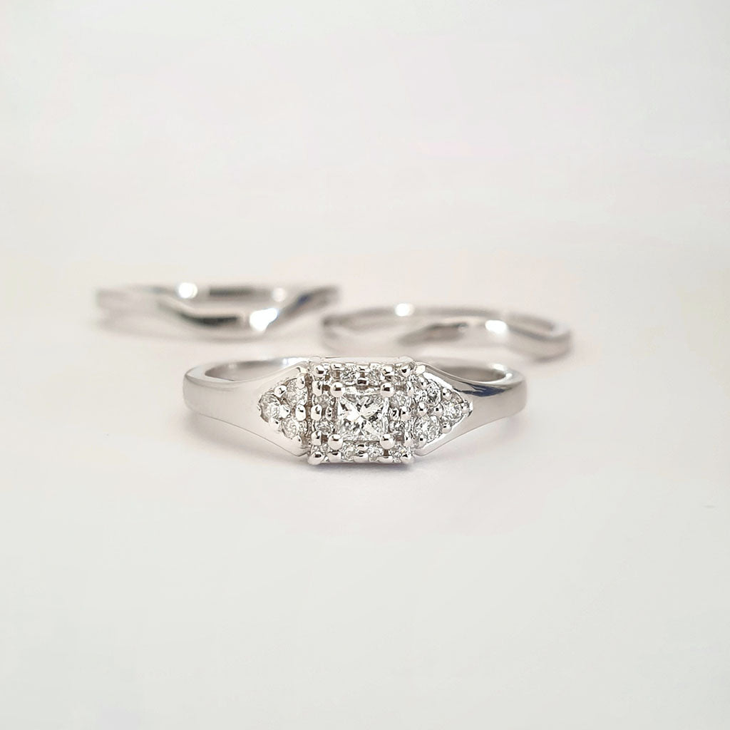 Square Cut Diamond And Square Halo Engagement RIng with Double White Gold Wedding Band Set