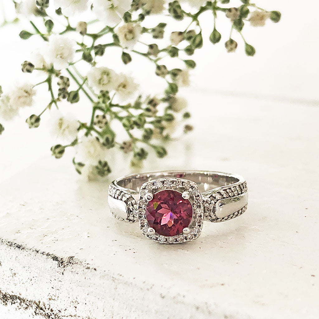 Square Diamond Halo, Cushion Cut Pink Tourmaline and Diamond Band Wedding Set
