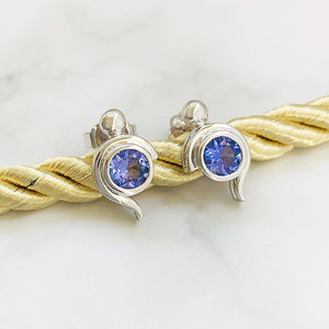 Tanzanite Studs with White Gold Bead and Curve Detailing