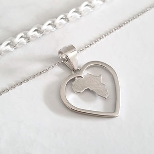The Heart of Africa Silver Pendant and Chain