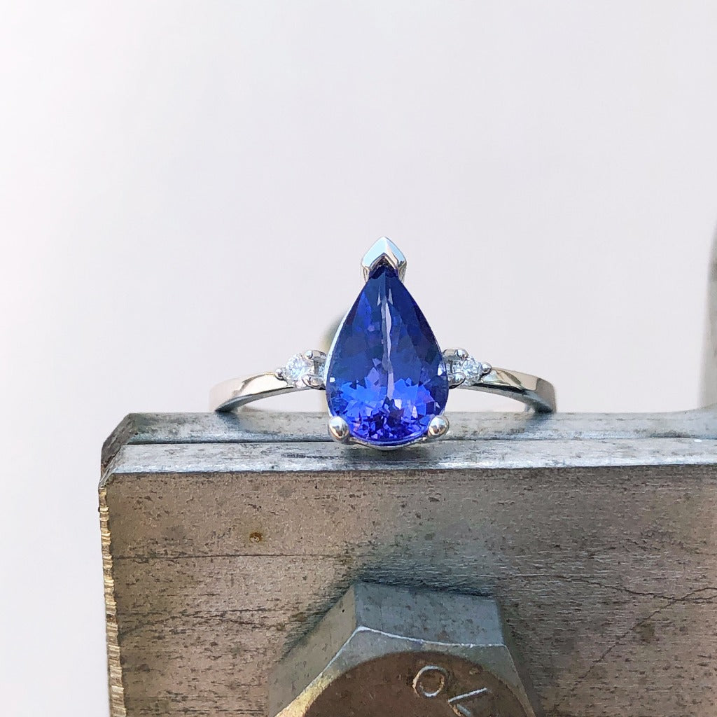 Thin White Gold Band, Pear Cut Tanzanite with Petite Diamond Accent Ring