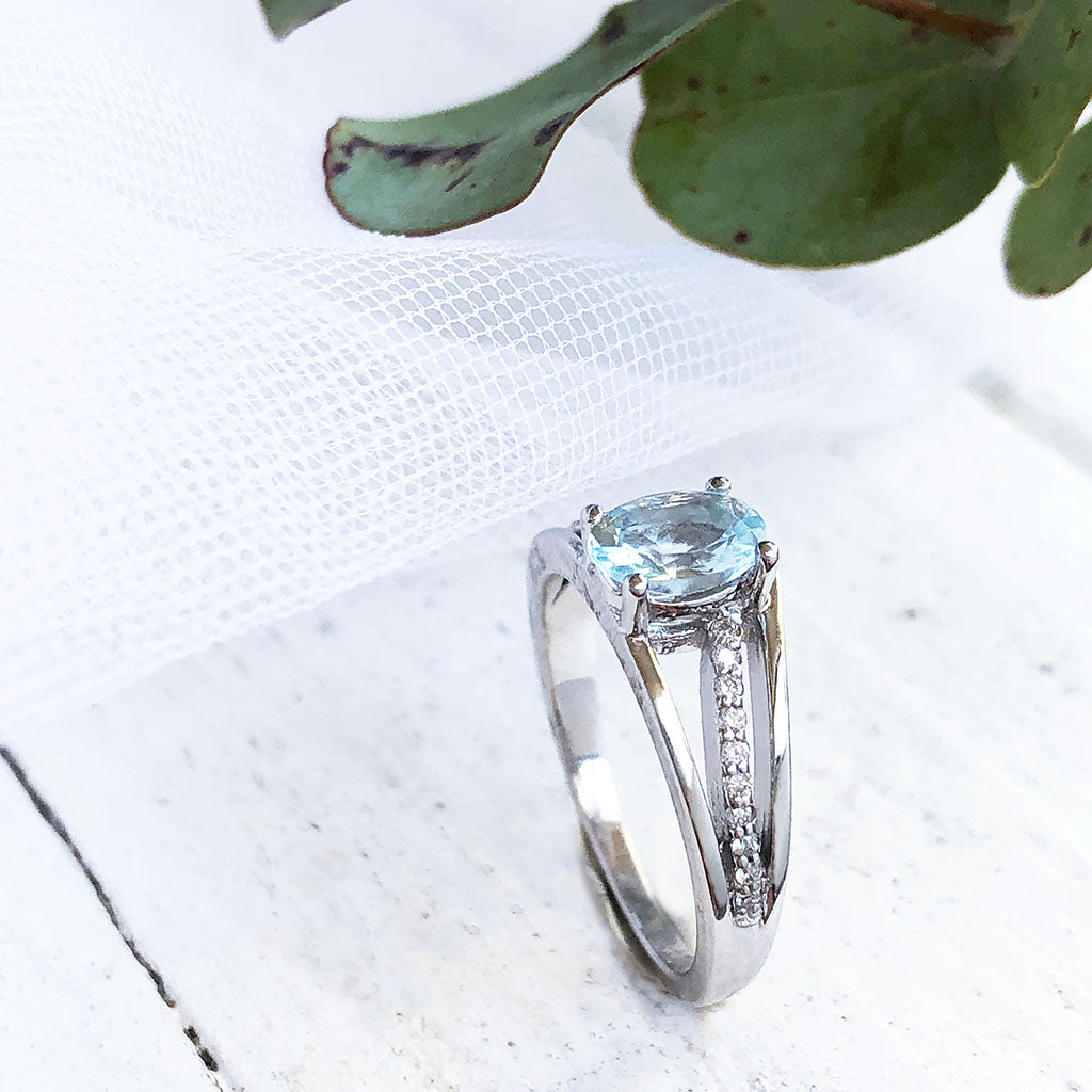 Three Band Split Shoulder Oval Aquamarine and Diamond Wedding Set