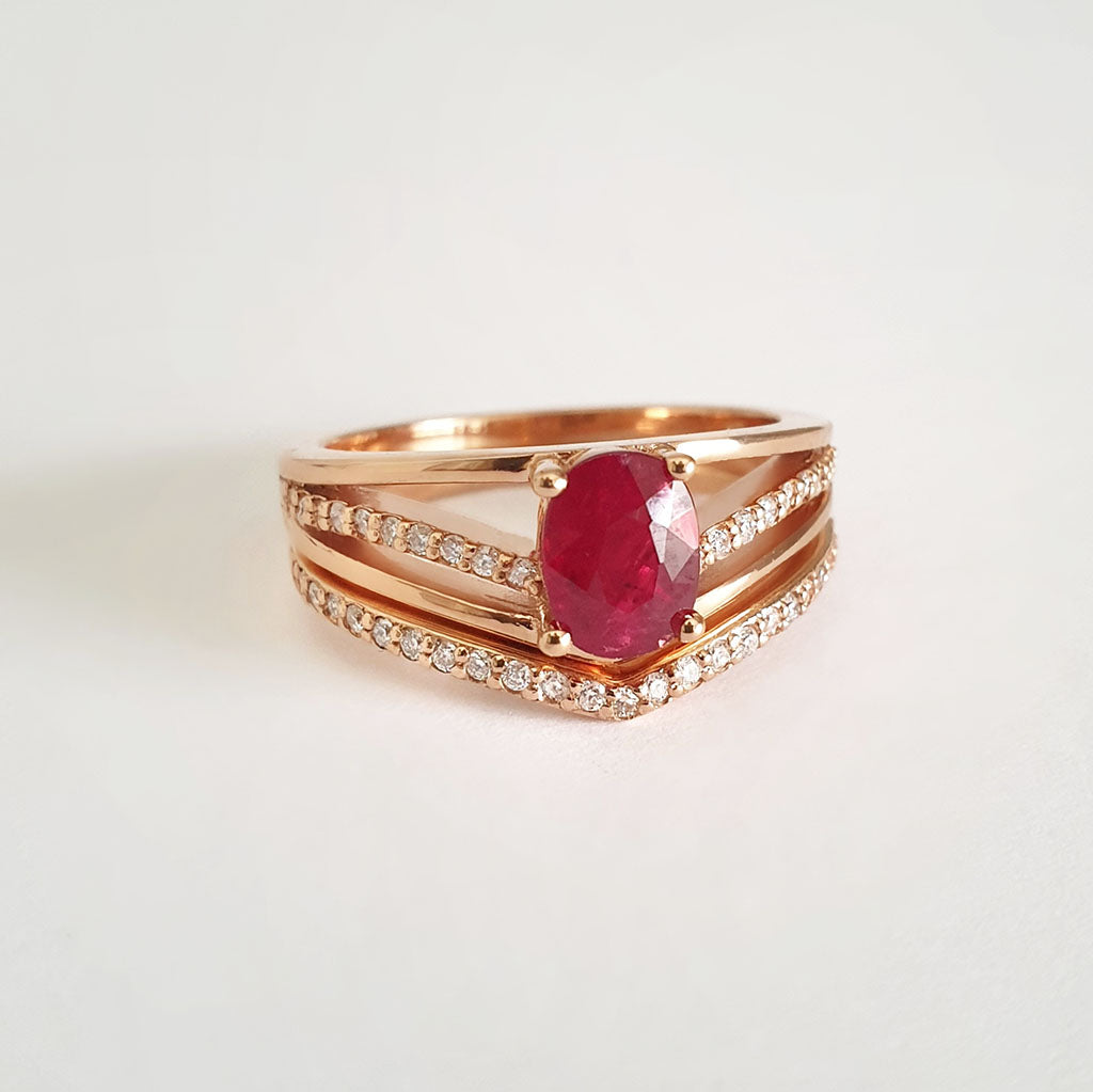 Three Band Split Shoulder Oval Ruby and Diamond Wedding Set