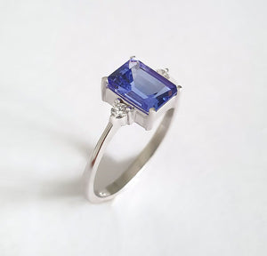 Timeless Emerald Cut Tanzanite and Petite Diamond Accent Ring