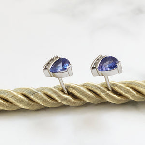 Triliant Tanzanite Studs with Diamond Accent