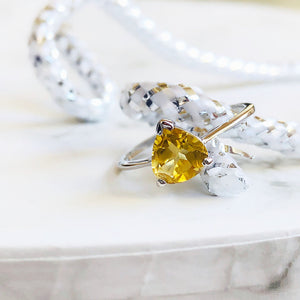 Trilliant Citrine Silver Ring