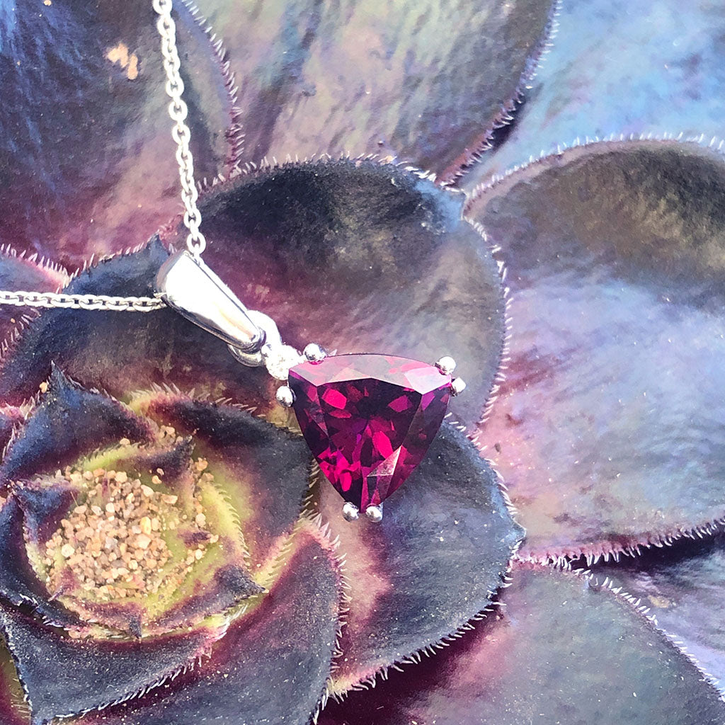 Trilliant Grape Garnet and Petit Diamond pendant