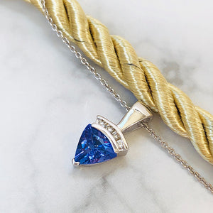Trilliant Tanzanite And Diamond Pendant