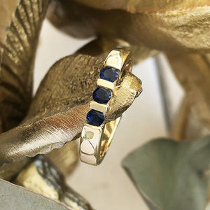 Trilogy Bar Set Blue Sapphire Ring