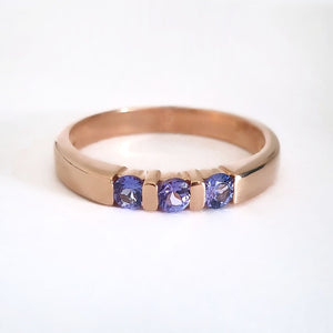 Trilogy Bar Set Tanzanite Rose Gold Ring
