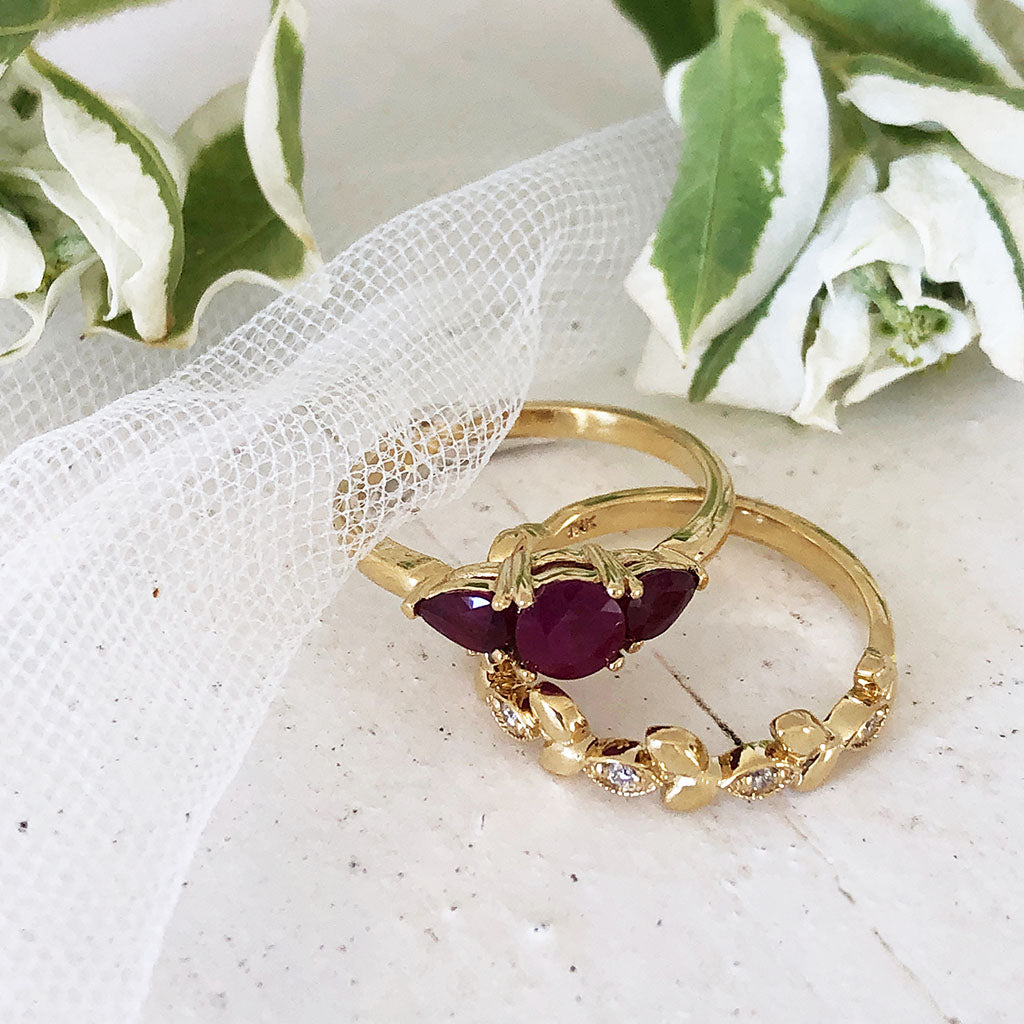 Trilogy Ruby Engagement Ring with Diamond Leaf Wedding Set