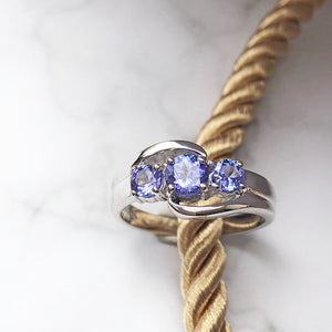 Trilogy Twist Tanzanite Ring