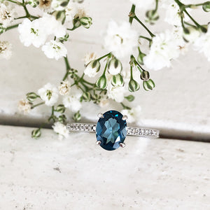 Triple Band Oval London Blue Topaz and Diamond Wedding Band Set
